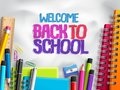 Back to school vector background design with school elements, colorful education supplies Royalty Free Stock Photo