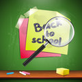 Back to school vector background note papers on green blackboard Royalty Free Stock Image