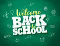Back to school vector banner design with 3d title and drawings