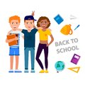 Back to school vector concept illustration with cheerful children cartoon characters gathering isolated on white