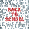Back to school vector hand drawn sketch lettering. Seamless background with alphabet. Scratched and hatching letters.