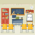 Back to school vector illustration. Classroom with desk, chalkboard and chair.