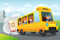 Back to school a vector illustration of kids riding bus Royalty Free Stock Photos