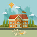 Back to school vector illustration. School building