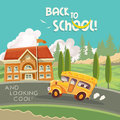 Back to school vector illustration. School building with school bus