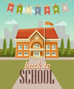 Back to school vector illustration. School building with welcome label
