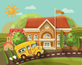 Back to school vector illustration. School building with yellow school bus