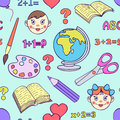 Back to school vector illustration of seamless pattern with elements Royalty Free Stock Photos