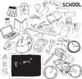 Back to school vector illustration of theme doodle style Royalty Free Stock Photography