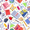Back to school vector seamless pattern. Colorful education stationery supplies and tools. Fashion print background