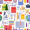 Back to school vector seamless pattern. Colorful education stationery supplies and tools. Fashion print background Royalty Free Stock Photo