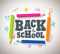 Back to school vector typography banner design with colorful crayons Royalty Free Stock Photo