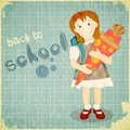 Back to school vintage card in austria and german tradition girl holds cone sugar bag retro style illustration Stock Photos