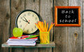 Back to school. Watches and school tools . Royalty Free Stock Photo