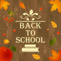 Back to school wooden background with leaves, design elements, books and text