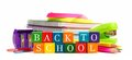 Back to School wooden toy blocks with school supplies Royalty Free Stock Photo