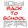 Back to School Word Cloud Concept in red & black Royalty Free Stock Photo
