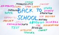 Back to school word cloud handwritten Stock Photos
