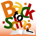 BACK TO SCHOOL words Fall text book pages Royalty Free Stock Images