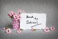 Back to school, words with pink flowers Royalty Free Stock Photo