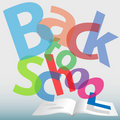 BACK TO SCHOOL words text book pages Royalty Free Stock Photo