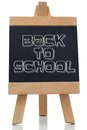 Back to school written in black on chalkboard against white background Stock Photography