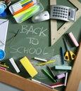 Back to school written blackboard green board Royalty Free Stock Photo