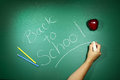 Back to school written on a chalkboard message of Stock Images