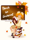 Back to school. Young schoolgirl with books Royalty Free Stock Image