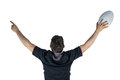 Back turned rugby player gesturing victory Royalty Free Stock Photo