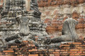 Back of two broken buddha statue in archaeological site Royalty Free Stock Photos