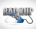 Back up sign connected to a server cloud illustration design over white Stock Images