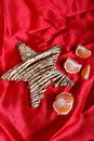 Back in USSR - mandarins, scarlet cloth and star like a symbol of the soviet new year's holidays Royalty Free Stock Photo