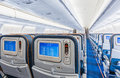 Back view of airplane interior Royalty Free Stock Photo