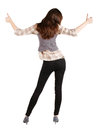 Back view of of beautiful brunette woman in jeans Stock Photo