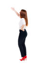 Back view of beautiful business woman welcomes young girl in suit rear people collection backside person isolated Stock Photo