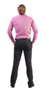 Back view of business man looks ahead young guy in pink shirt watching rear view people collection backside view of person Royalty Free Stock Photo