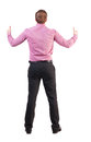 Back view of business man shows thumbs up rear view people collection cheerful office worker shows positive emotions backside view Royalty Free Stock Image