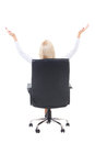 Back view of business woman sitting in office chair and celebrat celebrating success isolated on white background Stock Images