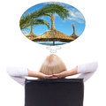 Back view of business woman sitting on office chair and dreaming about vacation isolated white background Royalty Free Stock Images
