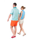 Back view going couple. Royalty Free Stock Photo