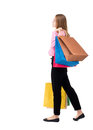 Back view of going  woman  with shopping bags Royalty Free Stock Photo