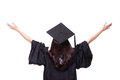 Back view graduate student girl hug future look up to copy space wear graduation cap gown asian woman Stock Image