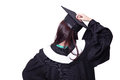 Back view of graduate student girl thinking in an academic gown isolated on white background asian beauty Stock Photos
