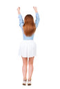 Back view of joyful woman celebrating victory hands up rear people collection backside person isolated over white Royalty Free Stock Photos