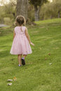 Back view of little girl in pink dress on grass a pretty year old wearing a pastel fancy walking at a park has brown hair pulled Royalty Free Stock Photos