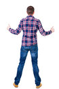 Back view of man in checkered shirt shows thumbs up rear people collection backside person isolated over white Royalty Free Stock Photos