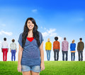 Back view of multiethnic people and cheerful woman multi ethnic a Royalty Free Stock Photo
