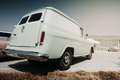 Back view of an old wagon parked at the aerodrome vintage retro van car in Stock Image