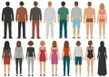 Back view people group, man, woman standing characters, business isolated person Royalty Free Stock Photo